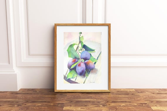 Plums, giclée fine art print of original watercolor artwork, gift idea for her, new kitchen, traditional restaurant, tavern, living room.
