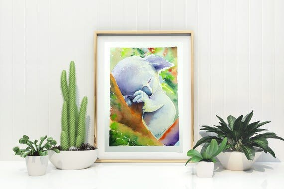 Colored koala, A5 giclee fine art print, wild animal, original artwork, gift idea for boys and children, child's bedroom decoration, nursery