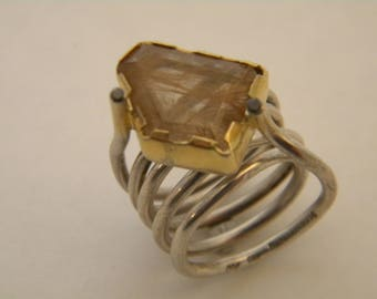 handcrafted contemporary silver gold K18 ring, rutilated quarz, black brilliants