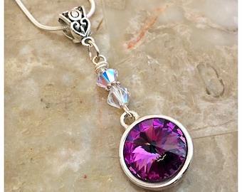 Swarovski Pendant Necklace, Swarovski Necklace, Purple Swarovski Crystal