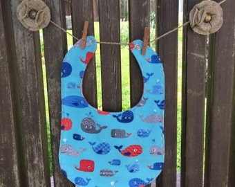flannel bib absorbent inner layer whales baby shower gift feeding essentials meal time essentials drool bib reversible bib snap fastener