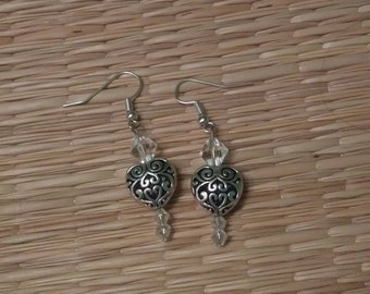Silver Hearts & Clear Crystal Bicone Earrings