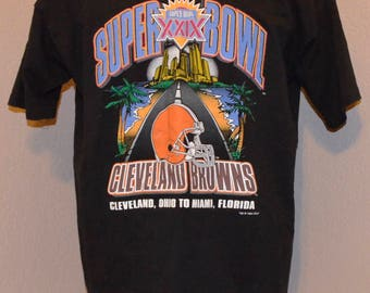 90's Cleveland Browns Salem Sports Road to the Super Bowl XXIX Shirt XL X-Large 100% Cotton 1994