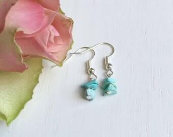 Tiny Earrings, Sleeping Beauty Turquoise, Turquoise Earrings, Rough Turquoise, Raw Turquoise, Clip On Earrings, Natural Earrings, Gift Women