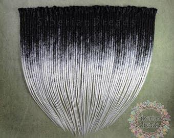 Crocheted SE Black White Ombre Dreadlock Hair Enxtensions Crochet Single Ended Dreads Gothic Boho dreadlock