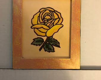 Pyrography and Water Color Wood Burned and Hand Painted Rose with Gold Hand Painted Frame