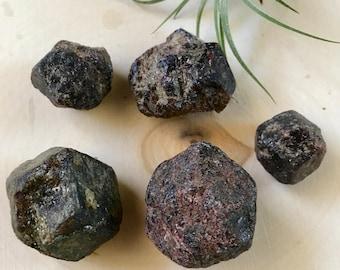 3 natural rough/raw Garnet crystals from India