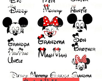 7 Minnie Mickey Heads/Disney Svg/ Mickey Mouse svg/ Minnie Mouse svg/Disney Family Svg/Disney Mickey Mouse Svg/ mickey Minnie silhouette svg