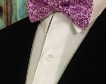 Pink Bow Tie, Pink Bowtie, Floral Bow Tie, Floral Bowtie, Mens Bow Tie, Fathers Day, Birthday, Gift, Wedding, Christmas, Prom, Purple, Dad
