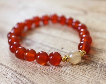 Citrine and Carnelian Mala Bracelet - Healing Crystals for Fertility, Abundance, Vitality, Motivation and Courage, Prosperity and Creativity