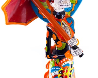 Fancy Umbrella catrina colorful dress mexican talavera statue day of the dead inspired