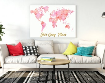 Girls room decor Multi Blush Pink watercolor world map She's going places pink map with gold quote  baby girl nursery watercolor map