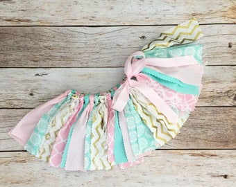 Pink, Mint and Gold Tutu, Fabric Tutu, Baby Girl Birthday Outfit, Scrap Skirt