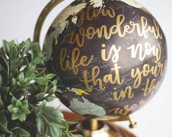 Nursery Globe | How wonderful life is now that you're in the world | Nursery Art