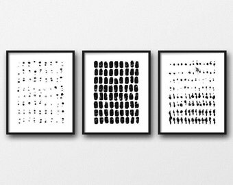 Best Selling Item, Black and White Wall Art, Scandinavian Art, Set of 3 Prints, Dots Pattern  Abstract Art, Minimalistic Art Print Set