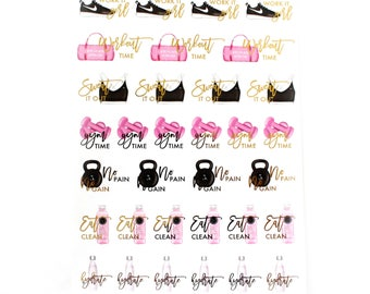 Workout Stickers//Foiled Functional Stickers!//SINGLE SHEET//F05
