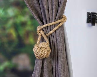 Mini Hemp rope monkey fist knot curtain tiebacks small knot shabby chic nautical style beach house window treatment rope tie-backs beige