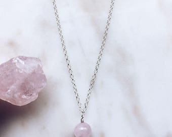 Rose Quartz Necklace, Sterling silver rose quartz pendant, Pink crystal necklace, Crystal necklace, Gemstone necklace, Rose quartz jewelry