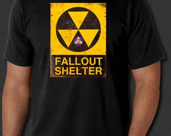 FALLOUT SHELTER Atomic Nuclear Emergency Disaster New T-shirt S-6XL