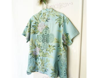 Plus size Country Chic top, womens upcycled clothing, Floral button down shirt, vintage crochet applique- size 22, dyed teal aqua, Hawaiian