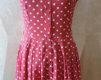 Vintage 90's Pink Polka Dot Button Front Fit & Flare Dress Swing Skirt