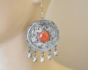 """Vintage Gypsy Chandelier Fringe Dangle Statement Earrings Boho Filigree Silver Tone Retro Costume Jewelry 2.75"""""""