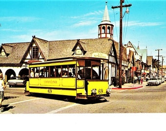 Mid Century Solvang CA California Real Photo Postcard Restaurant Dannebrog Plaid Pedal Pushers 60s Fashion Vintage Trolley Bus Unposted