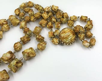 Vintage Brown, Amber, Cream Beads,Double Strand Necklace