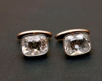 Vintage sterling silver natural quartz  (rock crystal) cuff links. Gold plate. Made in USSR 875 silver