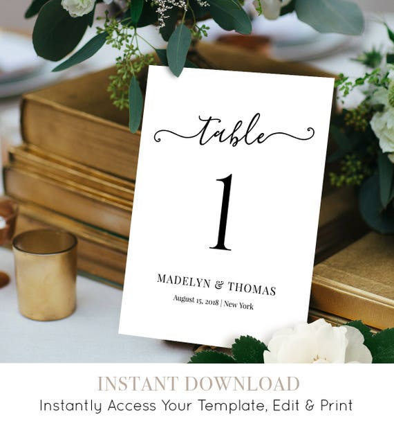 Table Number Card, Printable Wedding Table Card Template, Table Seating Card, Fully Editable, Instant Download, Digital, 5x7 #030-111TC