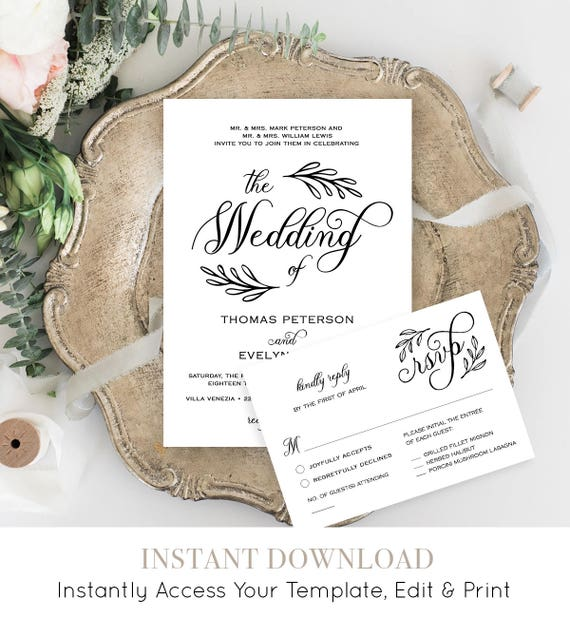 Rustic Wedding Invitation Set, Wreath Wedding Invite Template, Calligraphy, Printable Files, Instant Download, Editable Template #027A