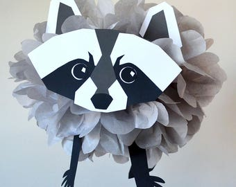 Raccoon Decoration/Raccoon Pompom/Woodland Animal/Forest Friends Party/Animal Decoration/Tissue Paper Pompom/Baby Shower/Birthday Party