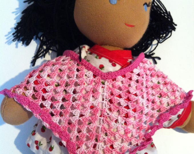 Summer poncho doll hand-made in cotton
