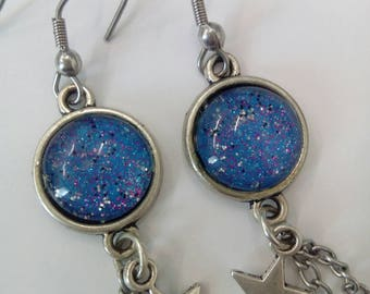 earrings original vintage style blue cabochon