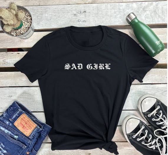 SAD GIRL Women's Short Sleeve Crewneck T Shirt , Hip Hop Tee Emo, Street wear Shirt