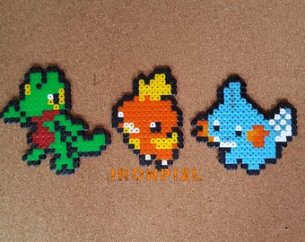 Figurines/Magnet/door-key/Deco bag Pokemon Gen 3 Starter Arcko, Torchic, Mudkip [Pixel Art Hama beads.