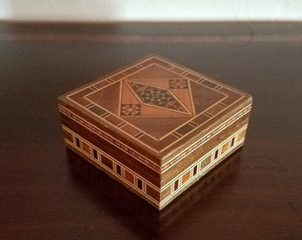 Wooden Marquetry Trinket Box