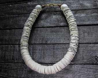 White necklace Statement necklace White jewelry Beaded Necklace Boho Jewelry Bib Ethnic Jewelry African Necklace Big Bold Chunky Necklaces