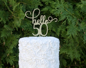 50th birthday cake topper, Happy 50th cake topper, hello 50, cake decorations, glitter cake topper, happy birthday, 50 & fabulous, 50party