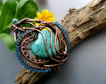 Turquoise Copper  Wire Wrapped bracelet, Copper wire bracelet, Copper wire cuff, Rustic copper bracelet, Wire wrap bracelet womens