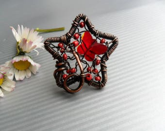 Star Copper wire ring / Wire wrapped ring / Unique ring for womens / Copper jewelry / Adjustable ring / Wire wrap ring handmade / Red rings