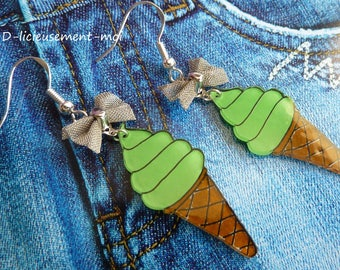 Earrings in sterling silver 925 cone ball ice green pistachio ice cream plastic crazy crazy butterfly knot summer cone