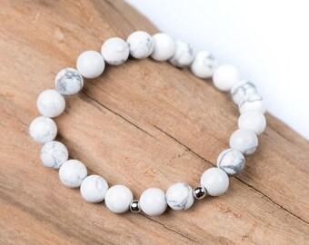 Wrist Mala Bracelet, Yoga Bracelet, White Marble Howlite Design Beaded Bracelet - For Healing, Protection, Calmness