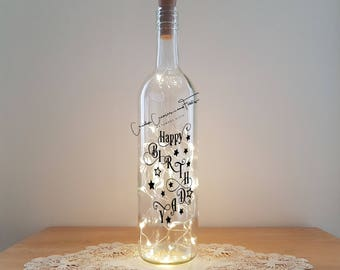 Lit Bottle Kit - Happy Birthday with Stars, Bottle Lamp, Wine Bottle Light, Bottle Light, Table Decor, Unusual Gift, Crafty Creases
