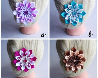 Satin Flower Hairclip/Hairclip with Kanzashi Flower/Satin Hair accessory/Up to 160 Custom Colors