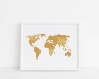 Gold Map Print, Printable wall art, Art print, World map print, minimalist art, Nordic print, Scandinavian art, Chic art, Elegant art, Map