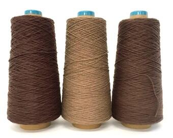 SAORI Cotton Yarn on Cone - Brown Combo - Set of Three - Weaving Arts Austin