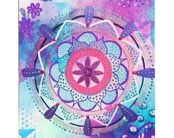 Mandala painting - Mixed media art - Spiritual art -  original artwork -  Soul art - boho home - a4 - sacred geometry - glitter
