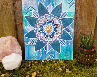 Teal mandala painting - Turquoise - Mixed media mandala - Sacred geometry - Bohemian art - Yoga art - Meditation - Spiritual - Boho decor