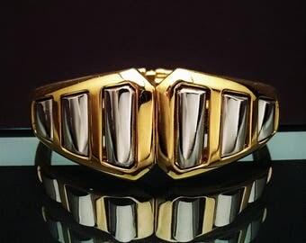 Vintage Signed Crown Trifari Gold & Silver Hinged Bracelet, ca. 1970's